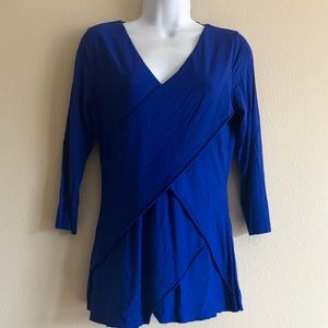 Vince Camuto Small V-Neck Casual Royal Blue Top